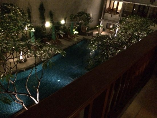 Bali Rani Hotel: view from our balcony at night