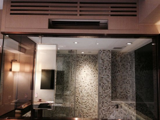 Butterfly on Waterfront : Glass walled bathroom enables guests to watch tv as they shower.
