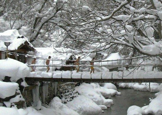 Takaragawa Onsen : Мостик через Такарагаву зимой