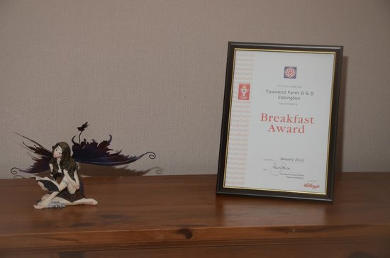 Townend Farm Bed & Breakfast: Breakfast award