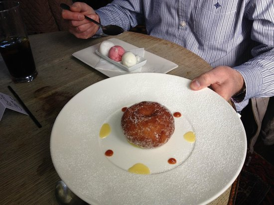 The Hare and Hounds: Posh Doughnut with Rhubarb in