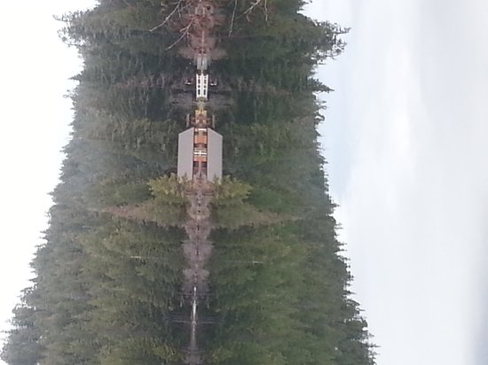 The Lodge at Suttle Lake: View of the lodge from across the lake on the trail