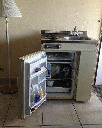 Holger Danske Hotel: #214 stove, sink, frig, freezer, pots & pans at front desk