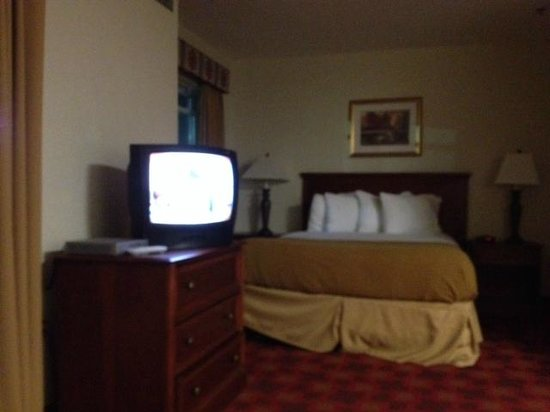 "Hawthorn Suites by Wyndham Chelmsford/Lowell: I believe this was a 13"" old tv. That was it for my ""suite"""