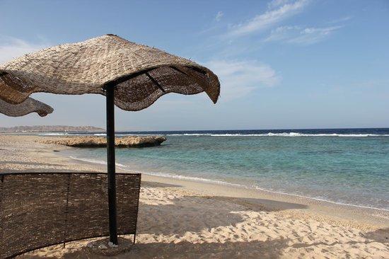 Radisson Blu Resort, El Quseir: la plage à l'abri des parasol