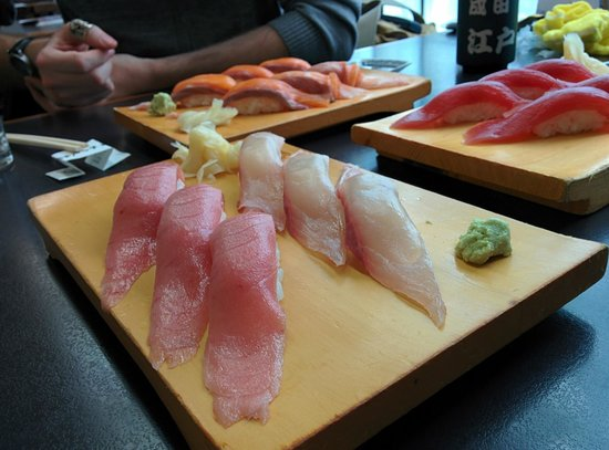 Edokkozushi: toro, yellowtail, tuna, and salmon