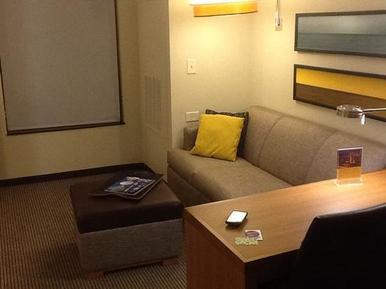 Hyatt Place Charlottesville : seating ara with a couch that pulls out into a full bed
