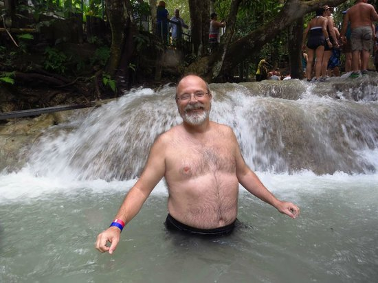 Dunn's River Falls and Park : Helpful volunteer photgrapher obviously can't aim. Got a pic of some old bald guy...