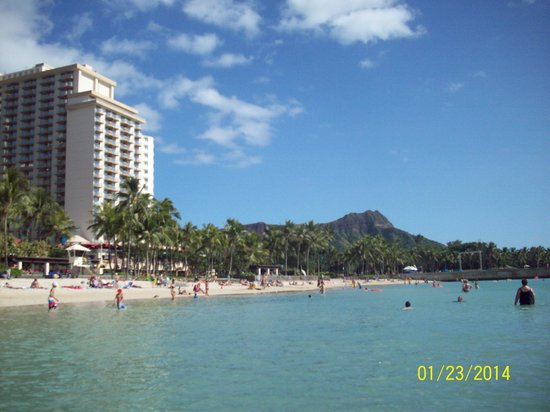Aston Waikiki Beach Tower: Aston Waikiki Beach Hotel from our ocean view