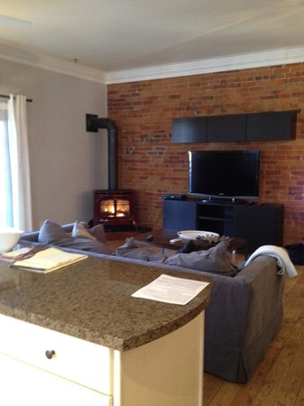 Posh Digs : View of Gas Fireplace and Flat Screen TV in Main Living Area