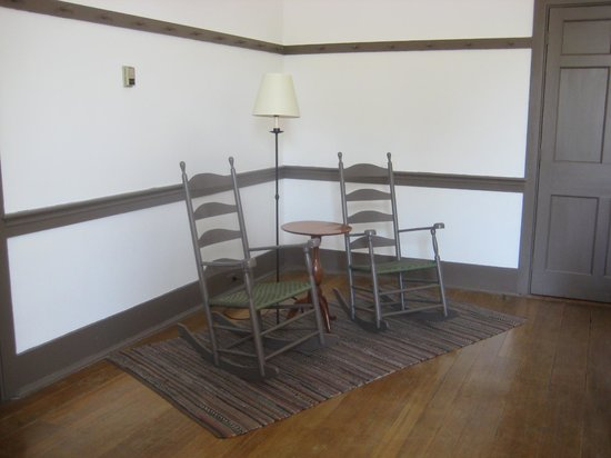 "Shaker Village of Pleasant Hill - The Inn: Shaker ""upholstered"" furniture in room"