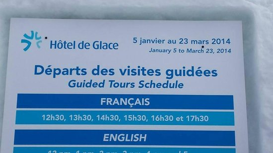 Hôtel de Glace : open only for a few months