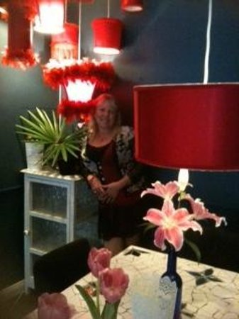 Bumble's: The red room featuring gorgeous upside down lampshades
