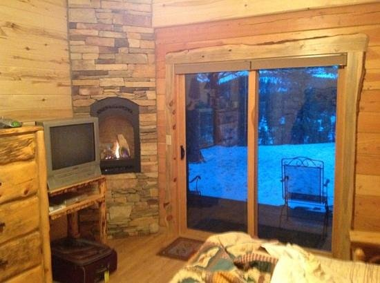 Cabins at Hartland Ranch: Master BR - gas fireplace, king bed, tv, and back porch with a great view