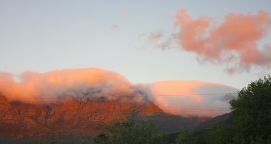Kleinfontein Farm: Sunset on clouds and mountains at Kleinfontein