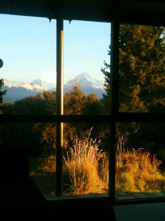 Mount Cook Glentanner Park Centre: View from bed (Cabin 10)