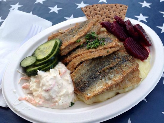 Nystekt Stromming: Three piece Baltic herring platter... endless list of sides to choose from.