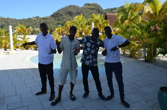 Buccament Bay Resort: Four of the amazing pool boys