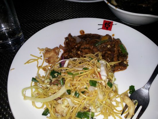 Berco's: Shredded lamb with bean sauce served with  noodles on my plate