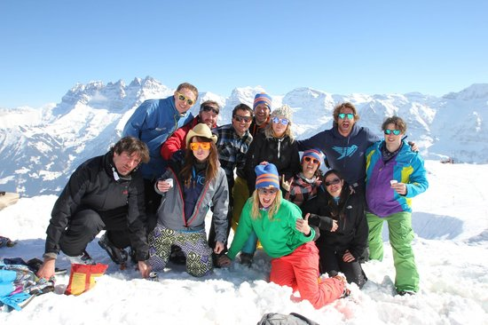 Chalet Skade - HOFNAR: group photo over looking the swiss alps