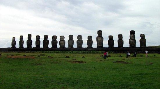 Ahu Tongariki: Moai looking inland from the sea.