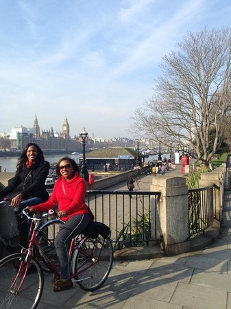 Cycle Tours of London: In front of Big Ben and Houses of Parliament