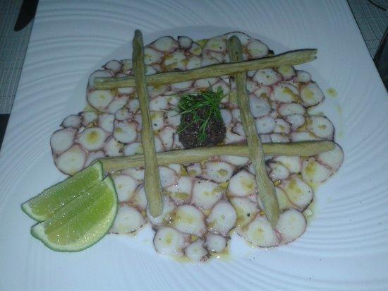 Hotel Casa San Agustin: Carpaccio de Polvo do Alma, o melhor restaurante que fomos em Cartagena, dentro do Casa San Agus