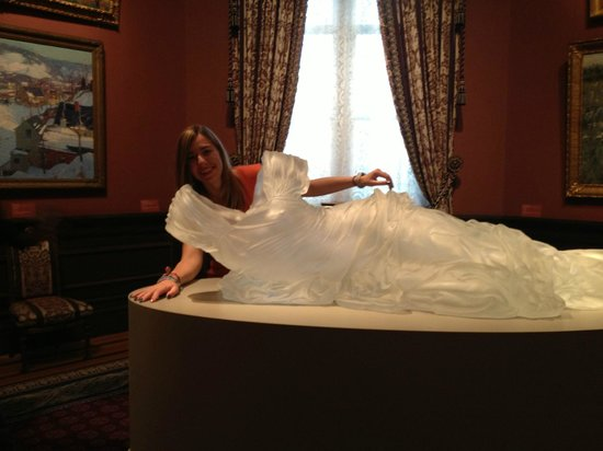 Renwick Gallery: glass sculpture of dress Inside is sculpted as shape of a woman's body