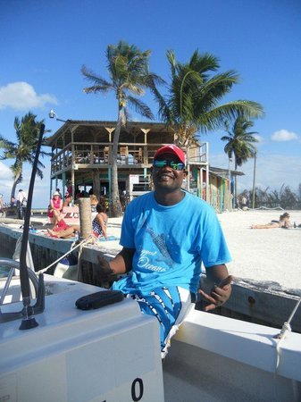 Ambergris Caye, Belize: Your happy Captain Carl welcome aboard The Newt.