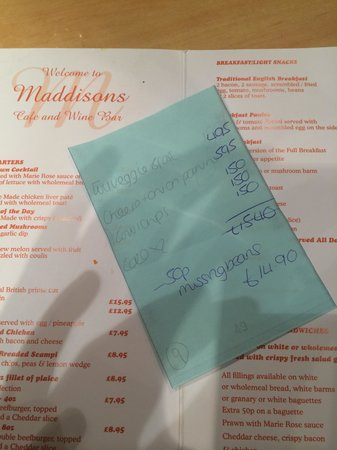 Maddison's Cafe Bar: the bill and menu
