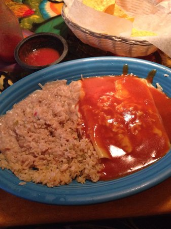Southern Pines, NC: Cheese Enchiladas with rice and beans