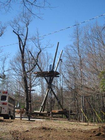 Chattooga Ridge Canopy Tours: Climb to 1st zip line