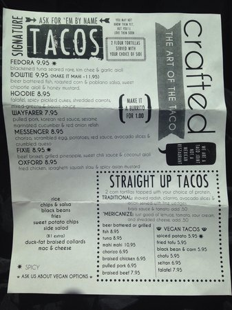 Crafted, The Art of the Taco: Menu 1/2