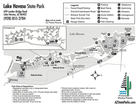Lake Havasu State Park Map Picture of Lake Havasu State Park Lake