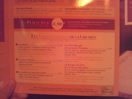 La Chicoree: menu des spécialités