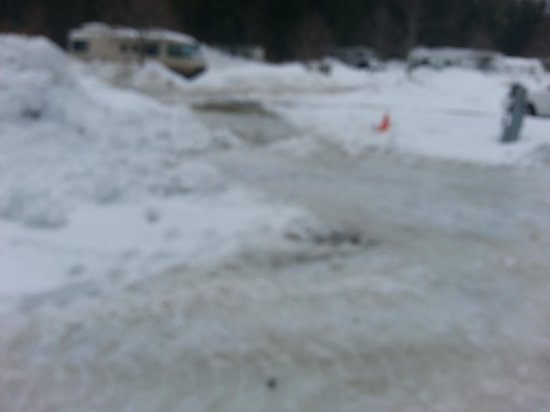 Danforth Bay Camping & RV Resort: Not sanded...sheer ice....3 days after storm. Road has been sheet of ice forever.