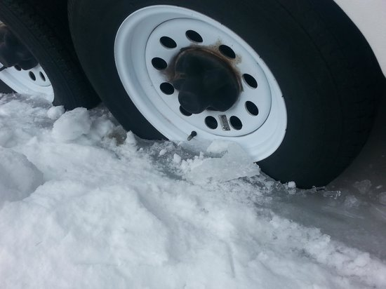 """Danforth Bay Camping & RV Resort: Tires in ice at least 4-6 """" deep the middle of March. They will never get out."""