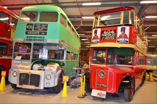 London Transport Museum Depot: Double decker displays.