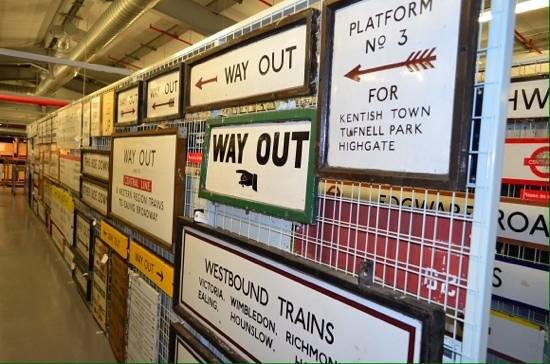 London Transport Museum Depot: Station signs.