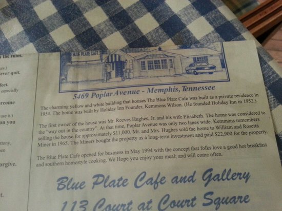 Blue Plate Cafe Downtown : History of blue plate