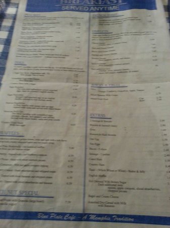 Blue plate menu - Picture of Blue Plate Cafe Downtown