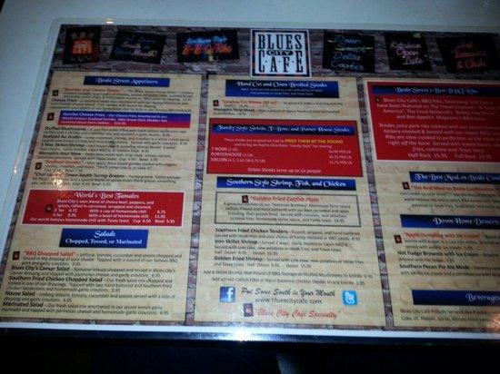 Blues City Cafe: Menu