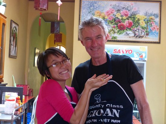 "Gioan Cooking Class: Vina the owner and my husband ""in training"""