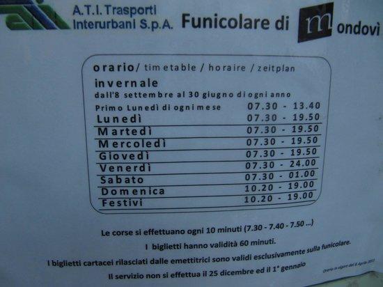 Mondovi, อิตาลี: orari della funicolare