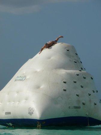 Cornwall Beach: Big iceburg floaty to climb & slide down