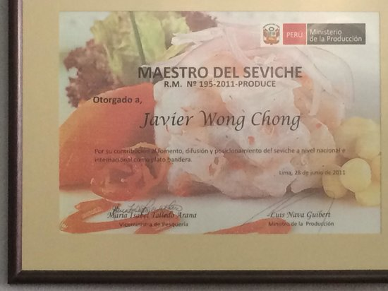 Chez Wong : certified ceviche master