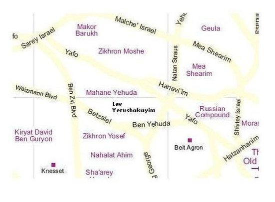 Lev Yerushalayim: Location Map