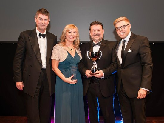 The Terminus Tavern: Receiving the award for Heron & Brearley Pub of the Year 2013 from guest compere Rob Beckett.