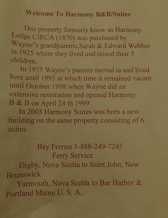 Harmony Bed & Breakfast: Harmony B & B History