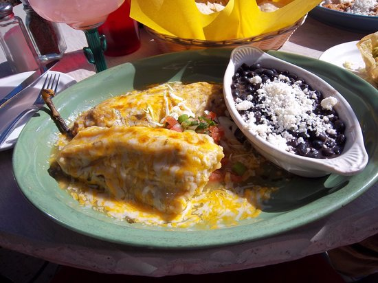 Javelina Cantina : Vegetarian special - chile rellano, cheese tamale, black beans and rice
